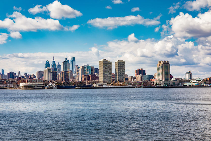 Philadelphia skyline from across the Delaware River in early spring Cityscape Pennsylvania Philadelphia Architecture Building Building Exterior Built Structure City Cityscape Cloud - Sky Day Delaware River Downtown,waterfront Landscape Outdoors Sky Skylines Skyscraper Urban Skyline Water Waterfront