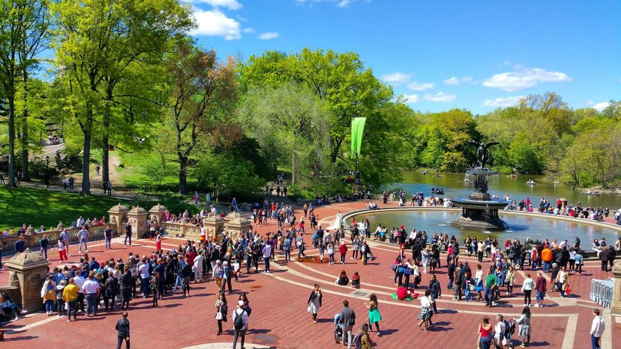 High Angle View Of Crowd At Bethesda Terrace And Fountain In Central Park