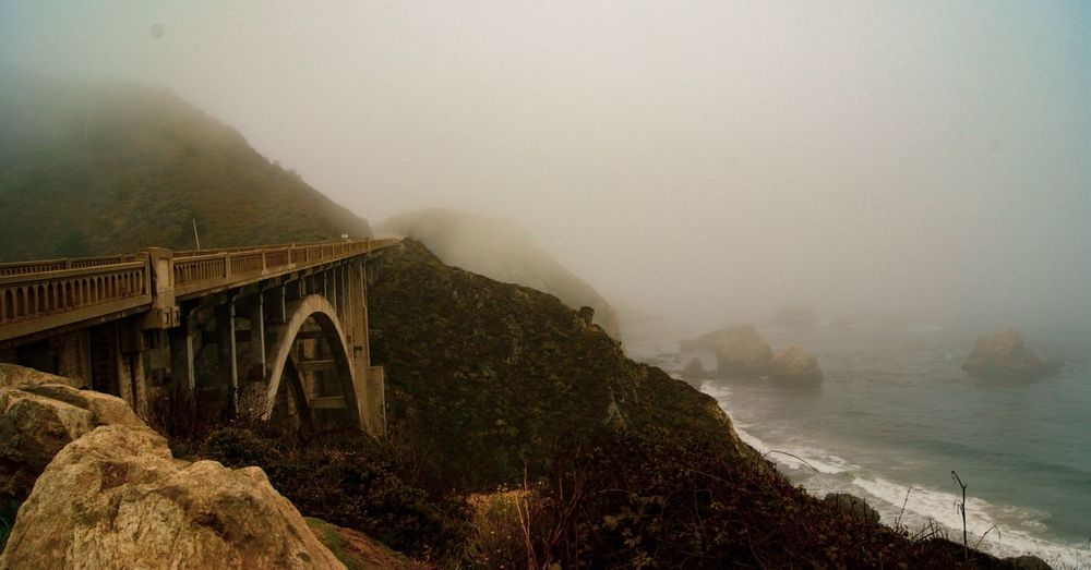 Highway 1 Roadtrip Unclear Foggy Coastline California Dreaming Bridge Fog Water Architecture Built Structure Land Nature Mountain Scenics - Nature Beauty In Nature No People Tranquility Environment Tranquil Scene Sky Sea Bridge Outdoors
