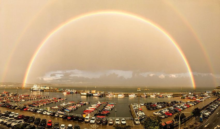 Galicia Port Ship Muelle Sea Sky Rainbow Architecture Building Exterior City Nature Cloud - Sky High Angle View Beauty In Nature Double Rainbow Water A New Beginning