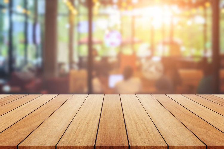 Close-up of wooden table