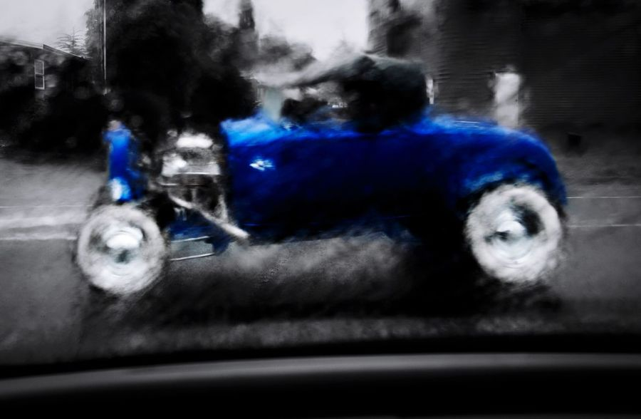 Blue Ford Hotrod Blue HotRod Rain Blurry Automobile Ford Custom Tbucket