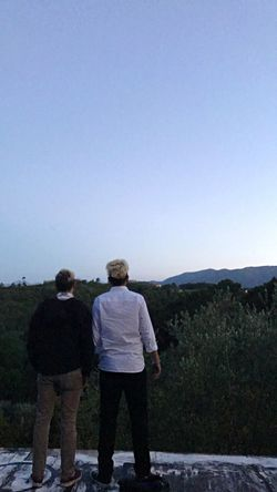 Brothers Friends Copy Space Real People Full Length Nature Rear View Standing Two People Togetherness Men Mountain Landscape Casual Clothing Beauty In Nature Outdoors Lifestyles Blue Day Sky Young Adult