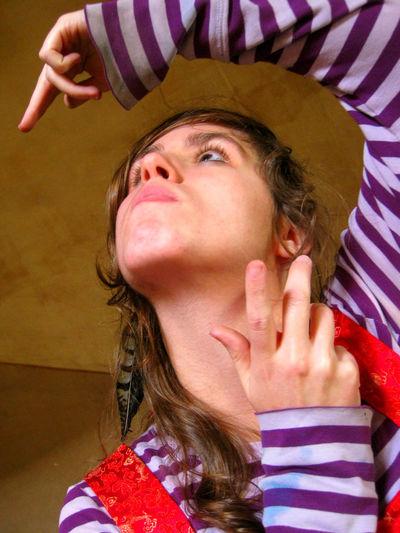 Close-up Color Portrait Gesture Handgestures Portrait Portrait Of A Woman Stripes Pattern Young Women