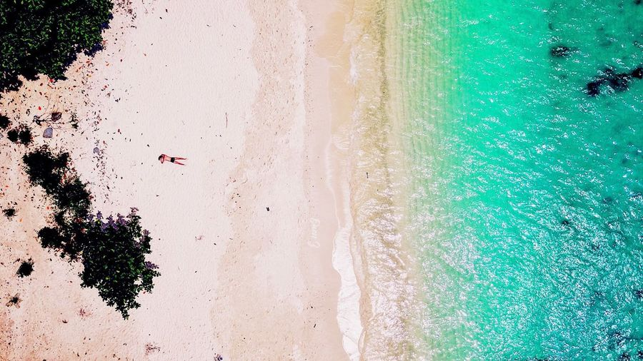 High angle view of swimming pool on beach