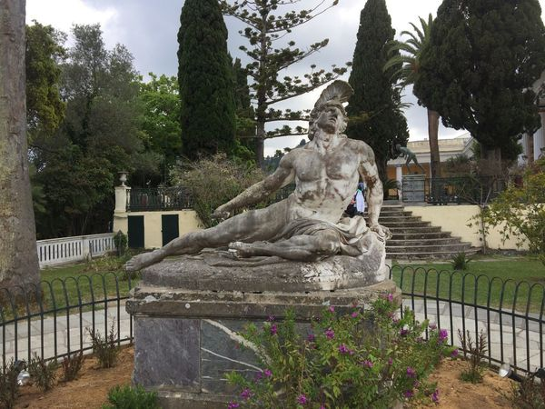 Achilleion palace on Corfu. (3) Greece Photos CorfuIsland Statue Sculpture Human Representation Outdoors Tree Travel Destinations