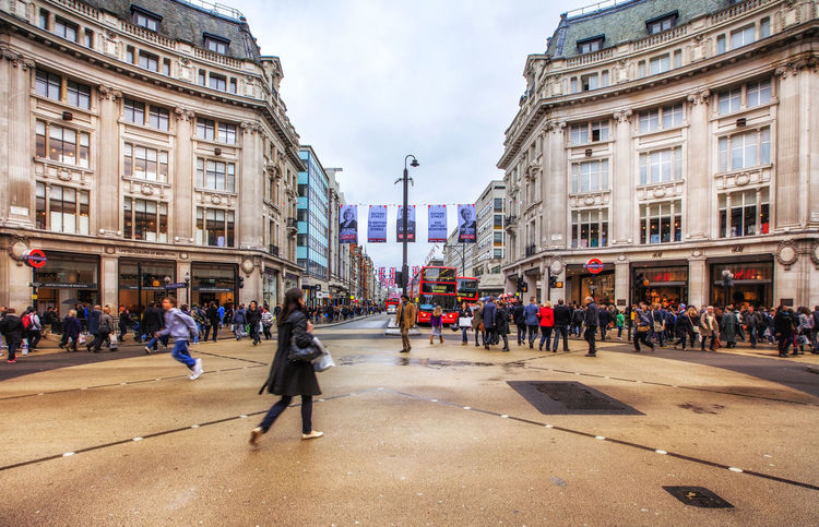 The Oxford Circus crossing in London Adult Adults Only Architecture Building Exterior City City Life City Street Crowd Cultures Day Large Group Of People London Outdoors Oxford Circus Oxford Street  People Retail  Retail Place Sky Store Street Travel Travel Destinations Tube Uk