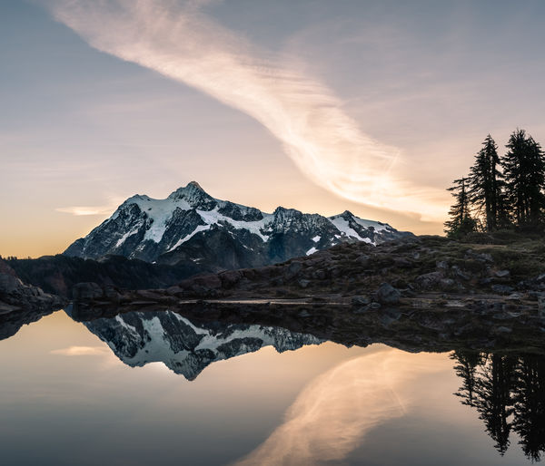 Reflection Of Snowcapped Mountains In Lake Against Sky During Sunset