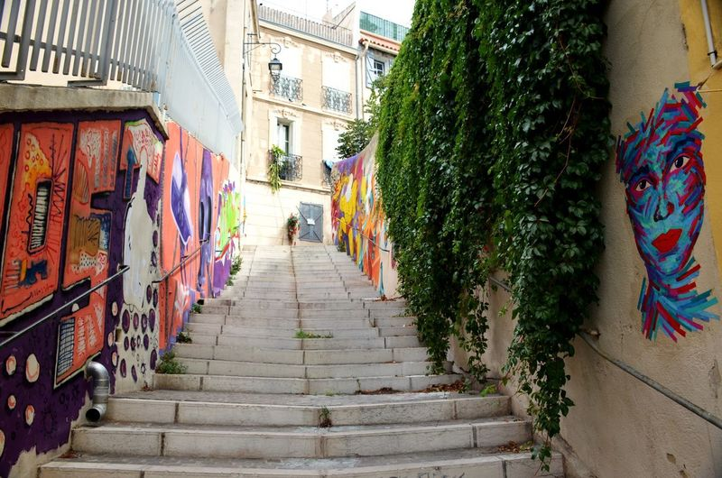 Côte D'Azur Graffiti Walls Along Stairs Marseille, France Street Art In France Travel Photography No People The Way Forward Travel Destinations Vacation Destination