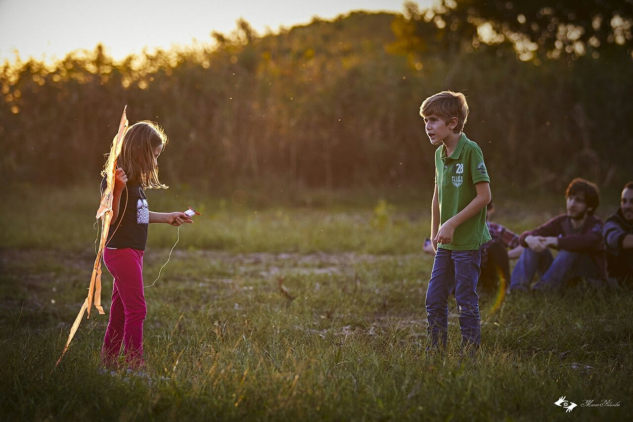 childhood, girls, sibling, boys, grass, child, elementary age, family, outdoors, togetherness, casual clothing, leisure activity, standing, field, blond hair, real people, full length, nature, friendship, happiness, bonding, children only, day, people