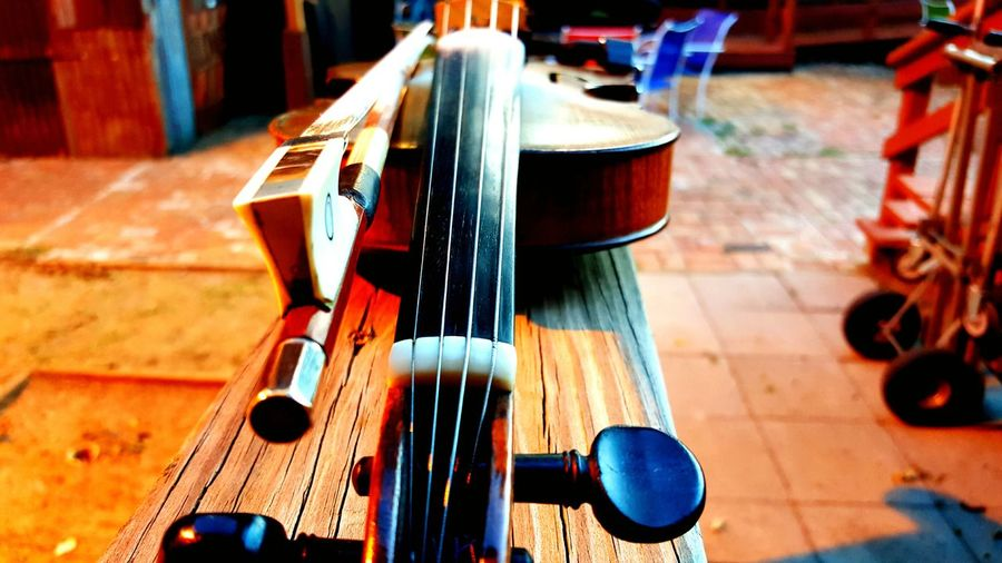 High angle view of violin on table