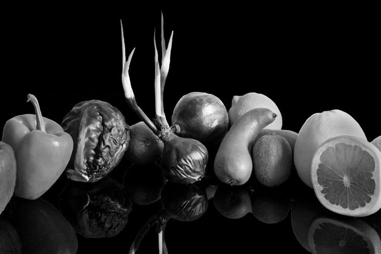 Black and white life Vegetarian Food Black Background Close-up Day Food Food Stories Foods Freshness Fruit Fruit And Vegetable Fruit Photography Health Healthy Healthy Eating Healthy Food Healthy Lifestyle Indoors  Monochrome Monochrome Photography No People Selection Studio Shot Veg Vegetable Vegetables