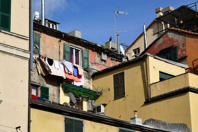 old city view Liguria,Italy Blue Sky Sunny Day Building Exterior Pastel Colors Pastel Colored Italian Houses Italian City Street Travel Photography Architecture Architectural Detail Italian Old Town Old Town View Genova Old City Old City Building Tipycal Houses