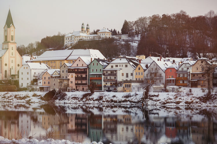 Houses in city during winter