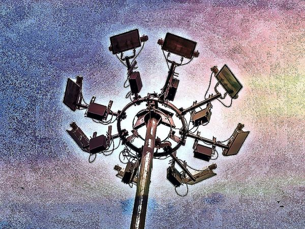 Technology Towers Camera Sticked Pole Effects Tecnology Spying Eye People Inhuman Robotic Spy Sky Plus Technology Everywhere