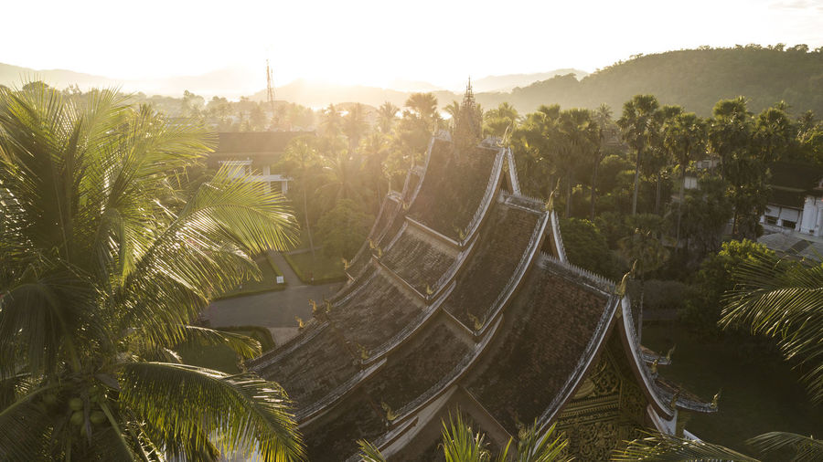 High angle view of temple by palm trees against sky