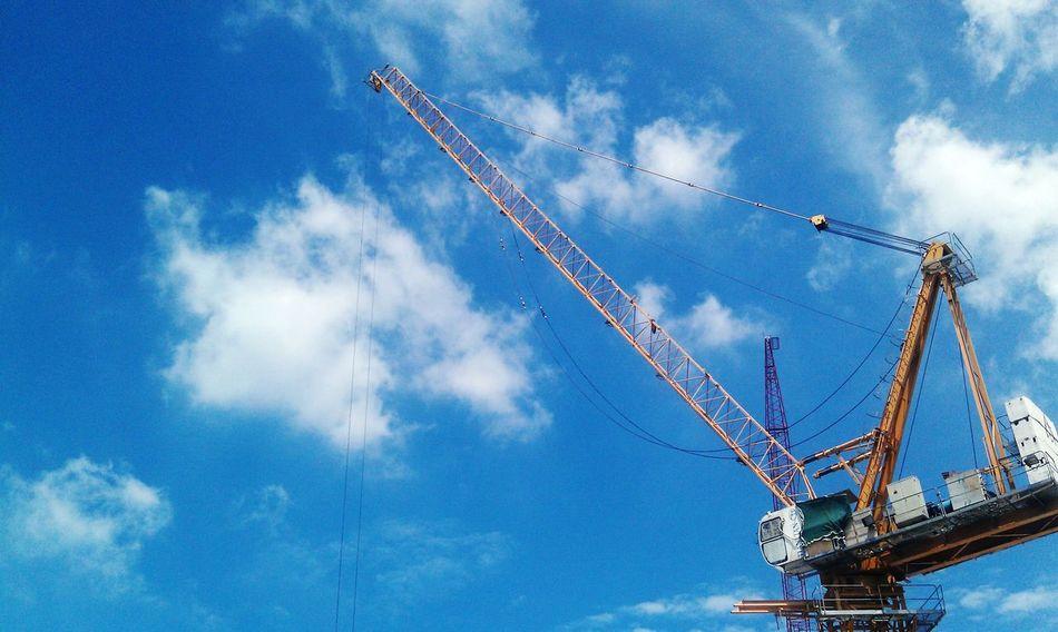 Contruction Crane Sky Crane Truck Working Hard High Crane Contruction Work Hoist Derrick Heavy Equipment Contruction Zone Clouds And Sky Blue Sky Crane Work Crane Fetish Sky Crane