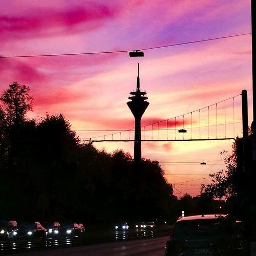 Sky Sunset City Cloud - Sky GERMANY🇩🇪DEUTSCHERLAND@ Düsseldorf Fernsehenturm Lila Wolken. Transportation Tree Car Land Vehicle Street Light Travel Destinations Outdoors No People Water Illuminated Architecture Day