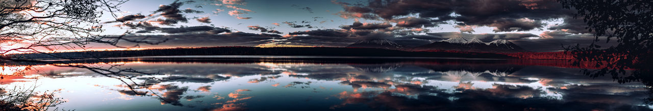 Panoramic view of lake against sky during sunset