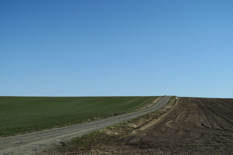 Scenic view of road amidst field against clear blue sky
