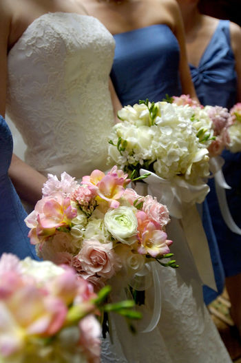 Wedding bouquets Bouquet Bridesmaid Bunch Of Flowers Day Flower Holding Love Midsection Standing Togetherness Wedding Wedding Ceremony Wedding Dress