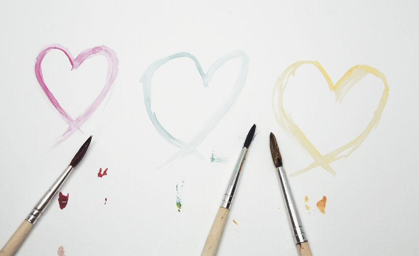 Love love love ❤💙💛. Colors Heart Love Simplicity Minimalism Minimalobsession Brush Taking Photos No People Pastel White Background Shootermag EyeEm Best Shots Handmade For You