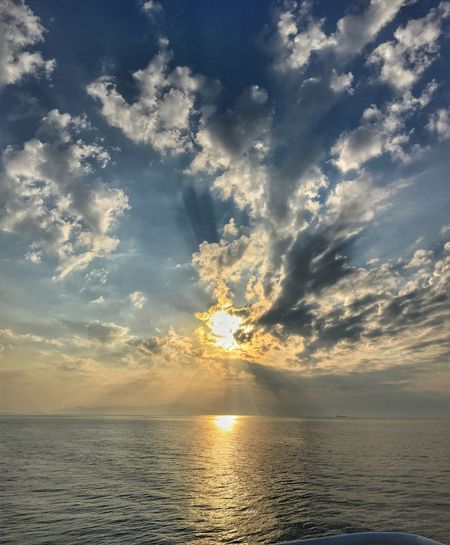 Sunrise on the ship Sky Cloud - Sky Water Beauty In Nature Sunset Tranquility Tranquil Scene Horizon Over Water Sea Scenics - Nature Horizon No People Nature Idyllic Reflection Sunlight Waterfront Outdoors Sunbeam