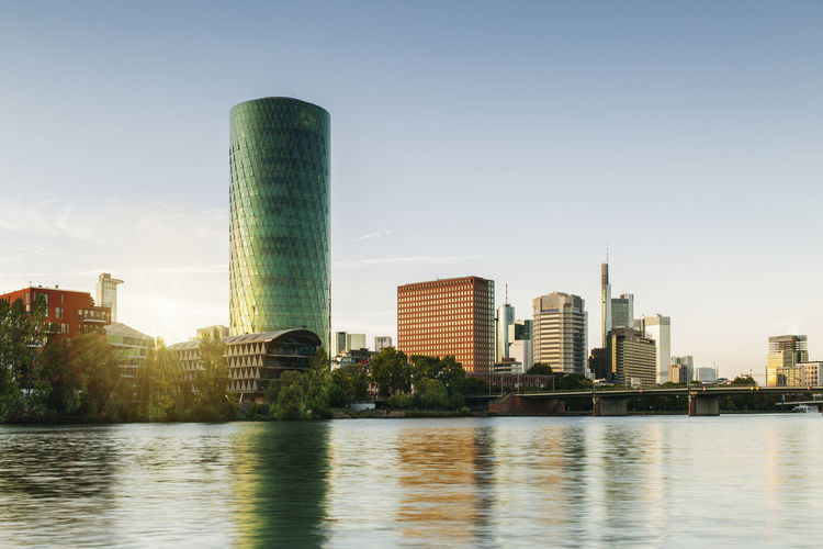 Frankfurt Westhafen Tower Frankfurt Am Main Gutleutviertel Architecture Building Building Exterior Built Structure City Cityscape Clear Sky Main Modern No People Office Building Exterior River Skyscraper Tall - High Urban Skyline Water Waterfront Westhafen Westhafen Tower