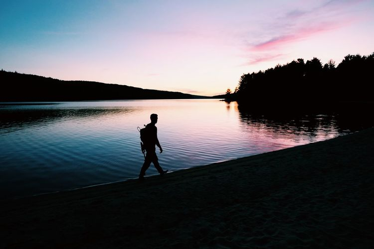 Algonquinprovincialpark Water Lake Silhouette Sunset One Person Reflection Real People Nature Sky Standing Full Length Scenics Beauty In Nature Leisure Activity Tranquility Lifestyles Men Tree Outdoors One Man Only