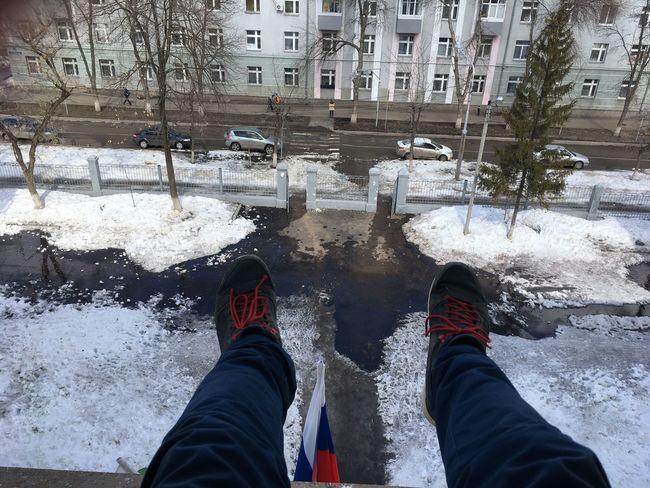 Весна в России One Person Personal Perspective Real People Winter Human Leg Human Body Part Lifestyles Day