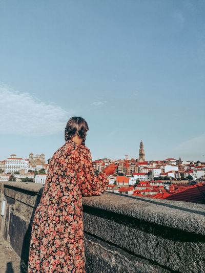 One girl in the city of porto, portugal with a view