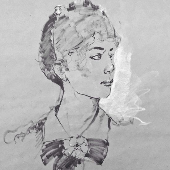 Brush and ink, contè drawing Sketch Drawings Blackdrawing Blackandwhite Portrait Of A Friend Art, Drawing, Creativity Portrait Of A Woman Artist Art Black & White Monochrome Gettyimages Getty Images Illustration