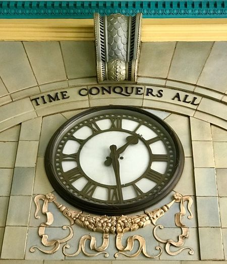 Close-up of clock on the wall