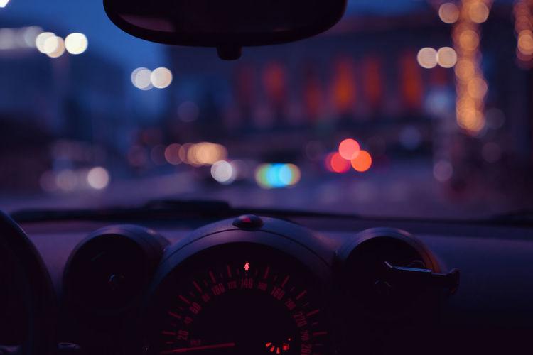 View of illuminated car at night