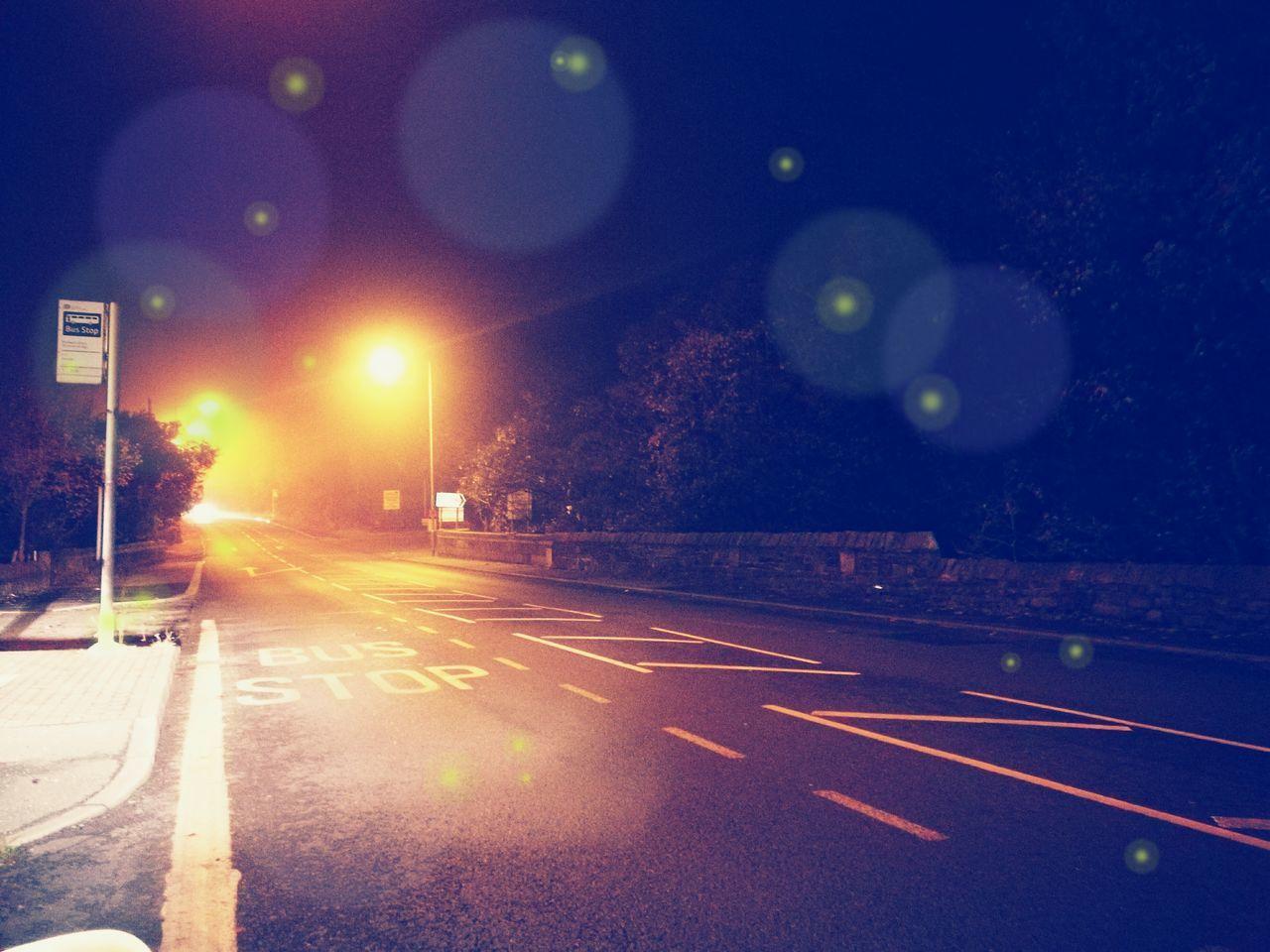 night, lens flare, road, illuminated, speed, no people, outdoors, moon, sky, city