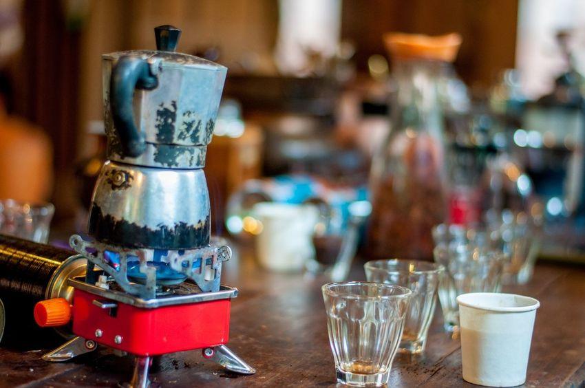 Coffee Moka Pot Boiled Drip Coffee Food And Drink Fresh Coffee Glass Homemade Coffee Local Coffee Old-fashioned Table Tea Pot