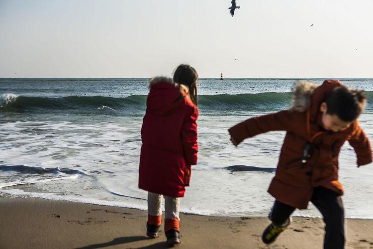 Haeundae Beach Pusan Korea Horizon Children Daughter And Son Sea Surge Seaside