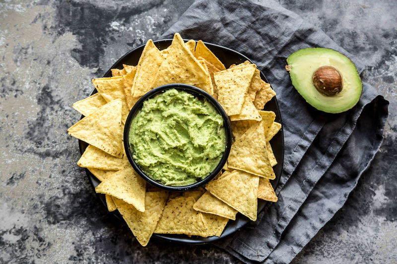 Tortilla Chips with guacamole Avocado Tortilla Chips High Angle View Guacamole No People Green Color Food And Drink Directly Above Freshness Ready-to-eat Food