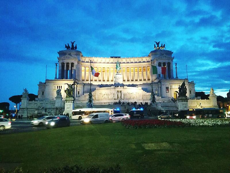 Roma, Piazza Venezia Roma Romantic Romantic Sky Romance Roman Romantic❤ Romantic Landscape Roman Ruins Romantic Place Romanian  Blue Architecture Night Car History Built Structure Grass City Building Exterior Illuminated Outdoors Statue No People Sky