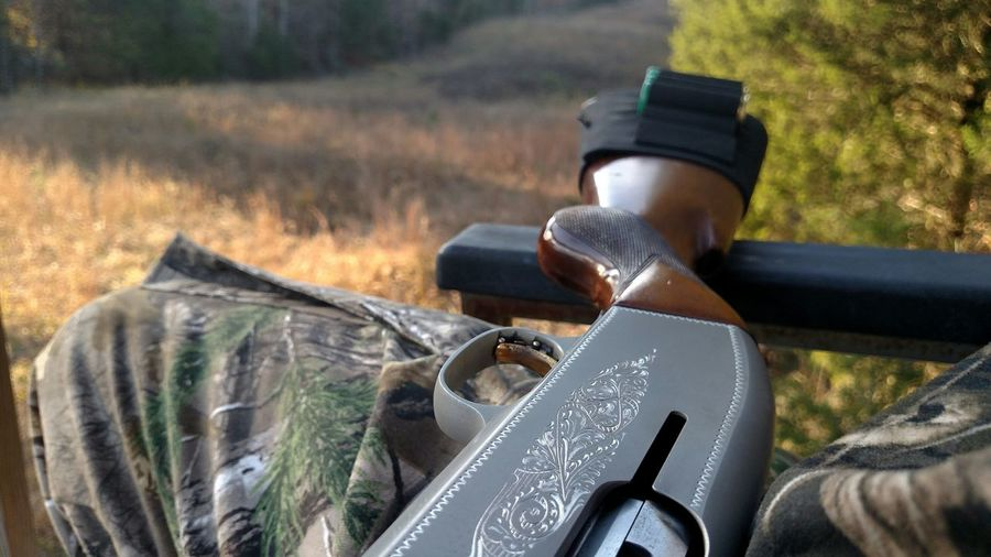 Waiting on a deer Nofilter Browning 12gauge Belgium Shotgun Hunting Fall Power Lines Camo Camoflauge Tree Stand Hunter