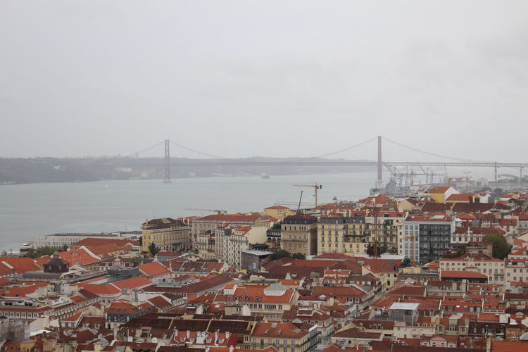 Portugal Sky No People Outdoors Iconic Culture Cloud - Sky Castle Iconic Buildings Tranquility Tranquil Scene Bridge Bridge - Man Made Structure City View  Skyline Lisbon European  Old Contient Views Rooftops River Neighborhood Map