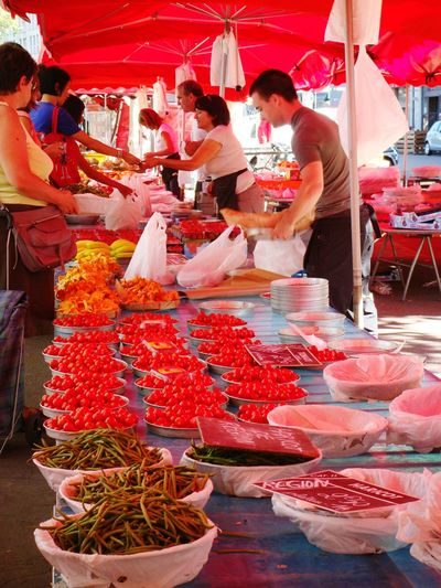 Beautifully Organized Market France Lyon Sunnyday People Fruits Vegetables Red Market Colors Market Street Communication Buyers And Sellers