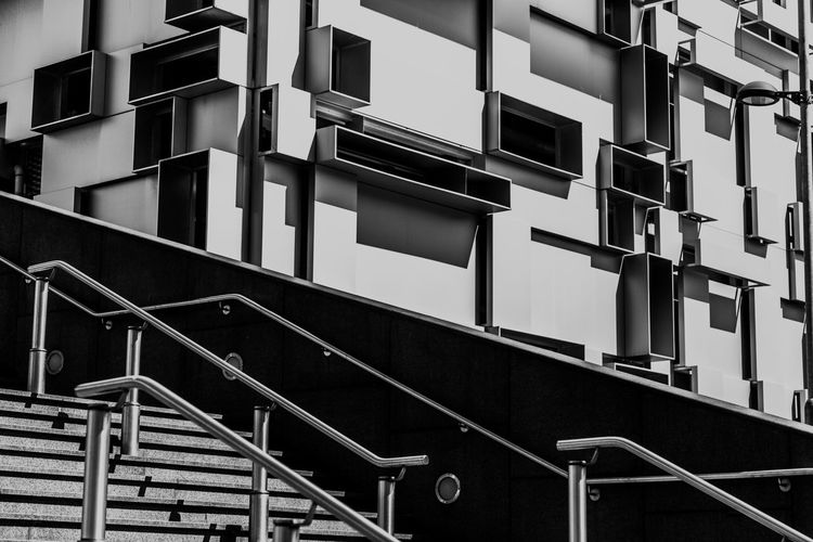 Black and White staircase with modern car park in background Architecture Birmingham Black & White Black And White Blackandwhite Building Building Exterior Contrast Day Digbeth Modern Modern Architecture No People Outdoors Outside Staircase Steps Steps And Staircases Uk