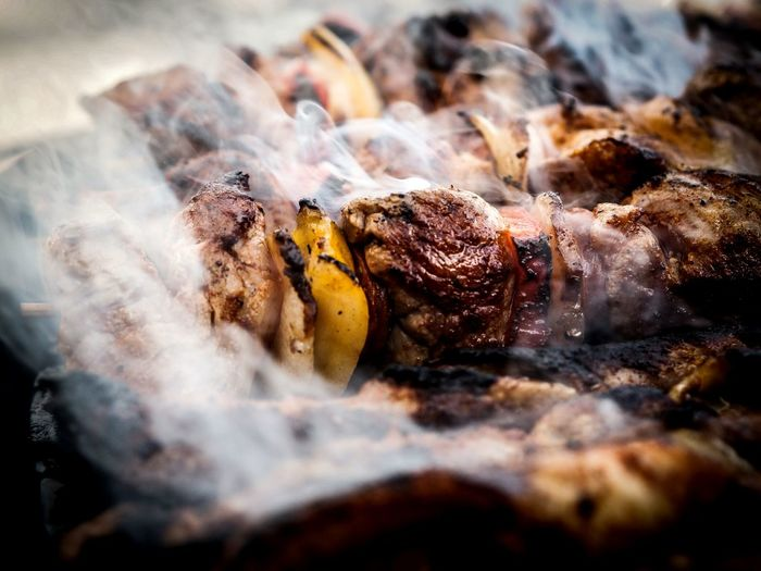 BokehBBQ BBQing BBQ Time Meat! Meat! Meat! Close-up Depth Of Field Focus On Foreground Focused Olympusomd Olympus OM-D E-M5 Mk.II Olympus Point Of View Get Close From My Point Of View Smoke Smokey Meat Smoked Grill Grilling Grilled Meat Tasty Foodphotography Heat - Temperature Food