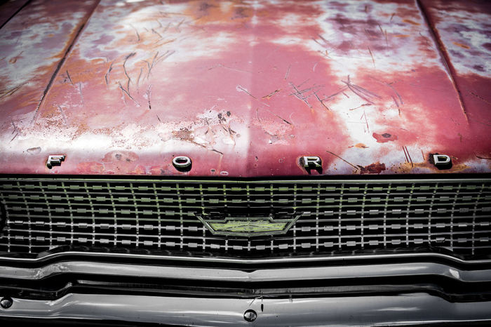 1963 Automobile Cars Classic Car Classic Cars Ford Ford Galaxie Lines Paint Rust Car Car Hood Car Show Close-up Day Emblem  Grill Grunge Hood Indoors  No People Patina Rusty Rusty Metal Symmetry