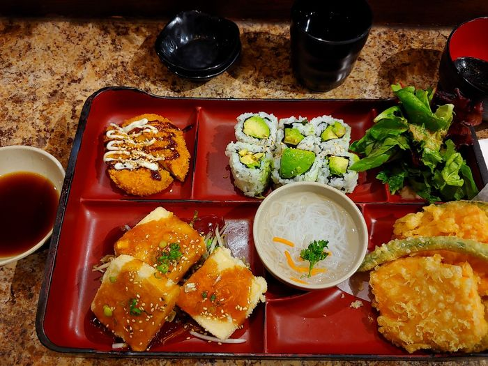 Japanese food EyeEmNewHere Sushi Food Japanese Food Restraunt Japanese Restaurant Tempura Tempura And Sushi Tofu Delicious Asian Food Table Food And Drink Freshness Ready-to-eat Meal Plate Vegetable Temptation Dinner Tray Healthy Eating Serving Size Wellbeing Bowl Garnish
