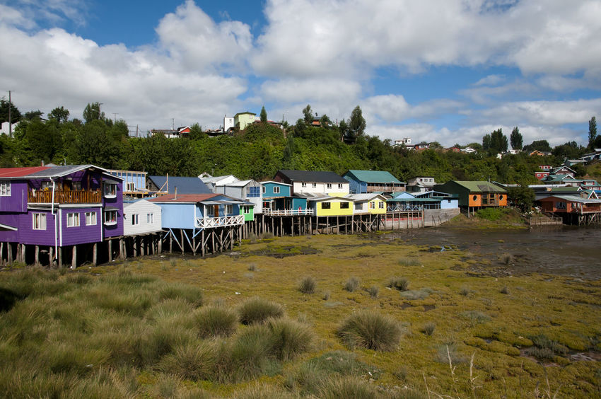 Palafito Houses - Castro - Chile Chile Chiloé, Chile Palafitos Architecture Building Exterior Built Structure Castro Colorful House Stilt Wood - Material