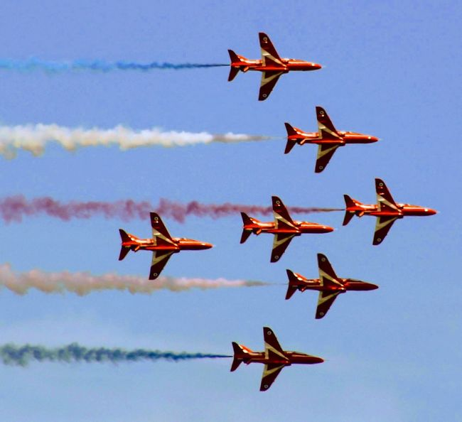 Red Arrows Airshow Aerobatics Vapor Trail Airplane Flying Military Teamwork Bird Flamingo Fighter Plane