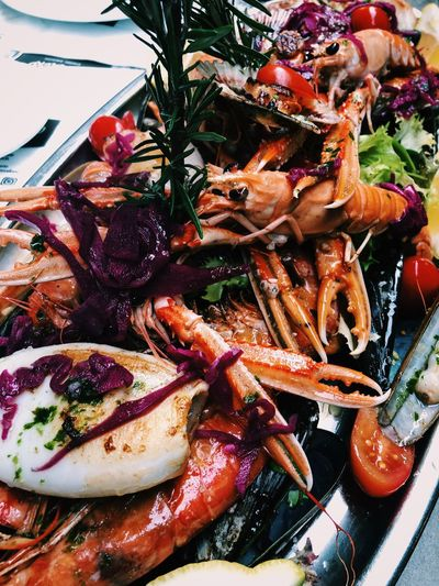 Seafood Platter Food And Drink Food Freshness Seafood Healthy Eating Ready-to-eat Crustacean Plate No People Close-up Serving Size Still Life Prawn Vegetable Meal Indulgence Meat Salad Dinner Garnish Seafood Mussels Shrimp