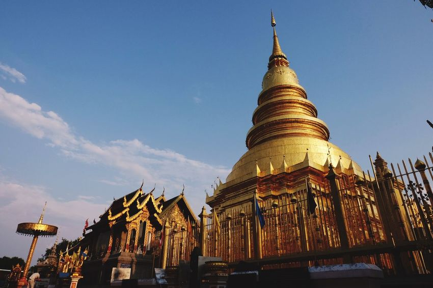Golden Pagoda Built Structure Architecture Sky Building Exterior Religion Spirituality Belief No People Outdoors Gold Colored Cloud - Sky Travel Destinations Tourism Nature Building Travel Place Of Worship Low Angle View City Spire